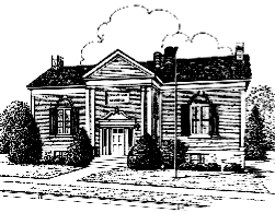Line drawing of Lowville Free Library